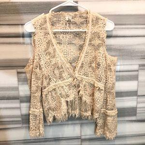 joie cold shoulder crochet shrug
